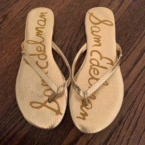 Sam Edelman gold flip flops